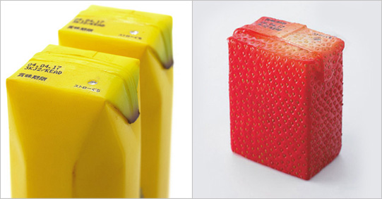Creative banana and strawberry juice packaging