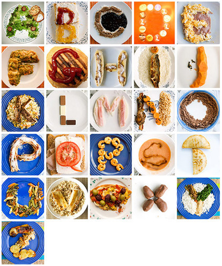 Letters of the alphabet consisting of food