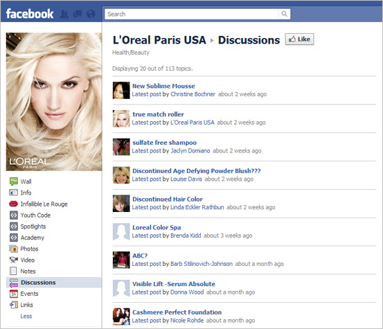 Facebook Discussions Page