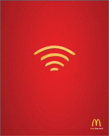 Mc Donald\'s wifi advert consisting of fries