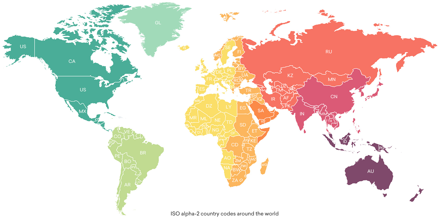 ISO Alpha-2 country codes around the world