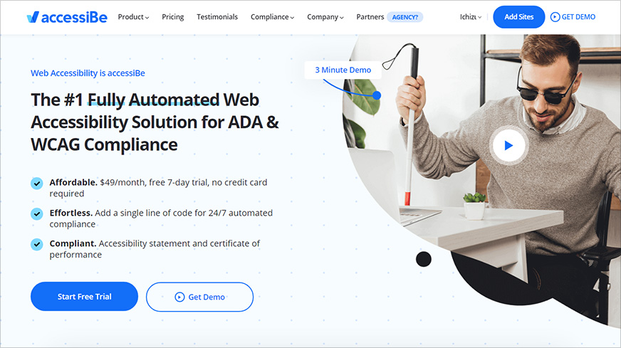 Accessibe platform home page
