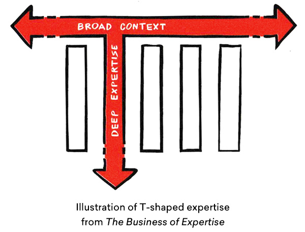 Illustration of t-shaped expertise with deep subject matter knowledge and broad context